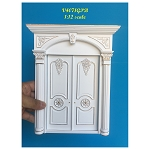 Decorated Double double door handcrafted for 1:12 dollhouse miniature White-gold Amazing